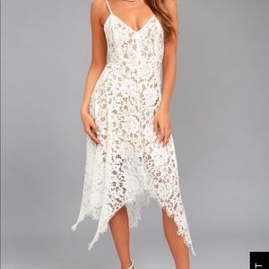 White lace bridal shower / rehearsal dinner dress